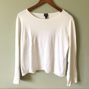 Eileen Fisher 100% Cotton Cropped Scoop neck Shirt